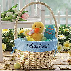 Personalized Jumbo Easter Basket with Blue Liner