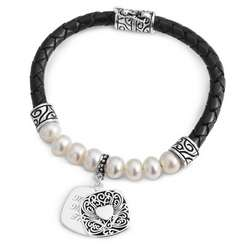 Personalized Leather and Pearl Bracelet