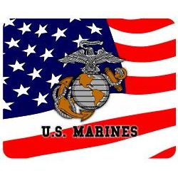 US Marines Eagle, Globe, and Anchor Stars and Stripes Mousepad