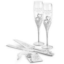Intertwined Hearts Wedding Flutes and Server Set