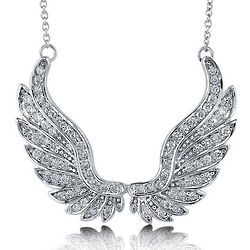 Cubic Zirconia Rhodium Plated Angel Wings Pendant