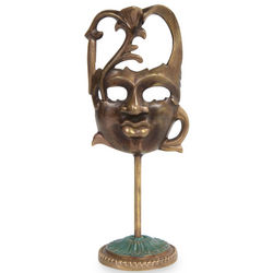 Face of Nature II Antiqued Bronze Mask on Stand