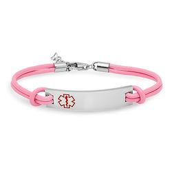Pink Leather Medical ID Bracelet