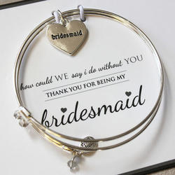 Bridesmaid's Meaningful Message Heart Bracelet