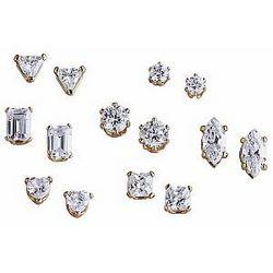 Cubic Zirconia Pierced Stud Earring Sets