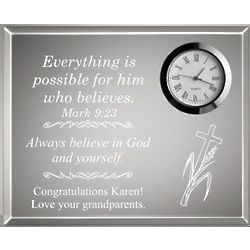 Inspirational Clear Desk Clock Plaque