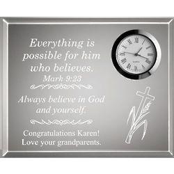 Inspirational Clear Desk Clock Plaque