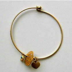 Gold Wire Hamsa and Charms Bangle Bracelet
