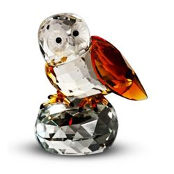 Crystal Owl Figurine Amber Wings
