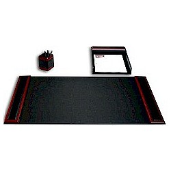 Walnut and Leather Three Piece Desk Set