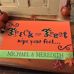 Personalized Halloween Trick of Treat Wipe Your Feet Doormat