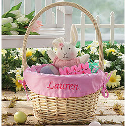 Personalized Jumbo Easter Basket with Pink Liner