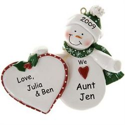 I Love My Aunt Snowman and Heart Ornament