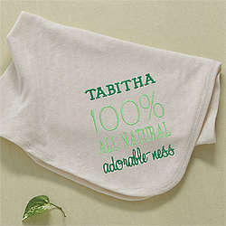All Natural Adorable Personalized Organic Cotton Baby Blanket