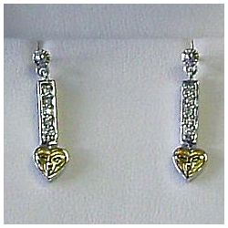 Silver Reversible Heart Earrings with Trinity Knot