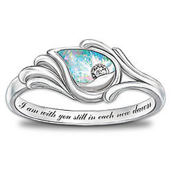 I Am With You Diamond and Created Opal Sterling Silver Ring