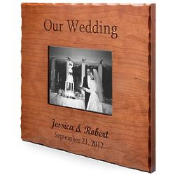 Personalized Our Wedding Cherry Wood Picture Frame