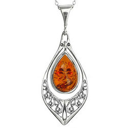 Baltic Amber Marquise Silver Necklace