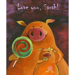 Happy Pigs Mother and Child Personalized Art Print