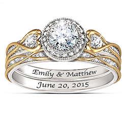 Endless Love Diamonesk Bridal Rings with Custom Engraving
