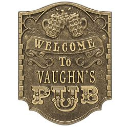 Welcome To the Pub Personalized Aluminum Plaque