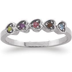 Sterling Silver Running Hearts Birthstone Ring