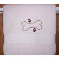 Embroidered Dog Bath Towel