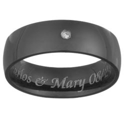 Mens Black Titanium & Diamond Engraved Message Band