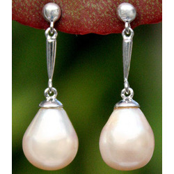 """Dawn Glow"" Pearl Dangle Earrings"