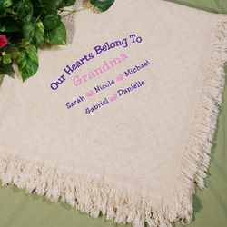Our Hearts Embroidered Afghan