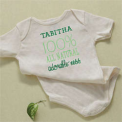 All Natural Adorable Personalized Organic Cotton Baby Bodysuit