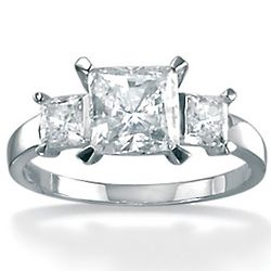 Platinum Over Sterling Silver Triple Princess-Cut CZ Ring