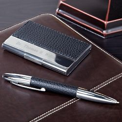 Personalized Executive Pen and Card Holder Set