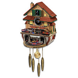 Golden Spike Cuckoo Clock with Moving Train and Sounds
