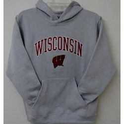 Wisconsin Youth Gray Embroidered Hoodie