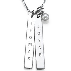Engraved Name Tag Necklace with Freshwater Pearl