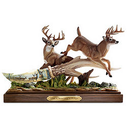 The Clearing's Edge Deer Sculpture with Porcelain Knife