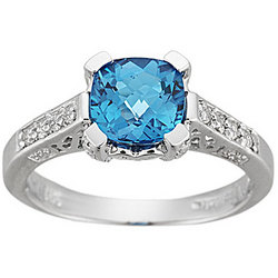 Diamond and Blue Topaz Fashion Ring in 14K White Gold