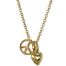 14K Gold Vermeil Heart Peace Pendants with Chain Necklace