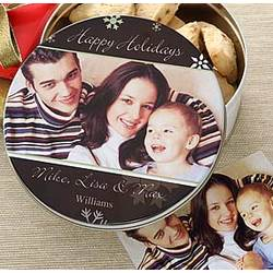 Happy Holidays Personalized Photo Gift Tin