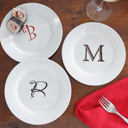 Personalized Hors D'oeuvre Plates with Custom Monogram