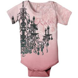 Personalized Pink Chandelier Baby Snapsuit T-Shirt
