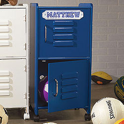 Kids Personalized Mini Storage Locker in Blue