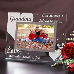 Engraved Our Hearts Belong To You Glass Picture Frame