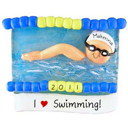 Personalized Swimmer in Pool Christmas Ornament