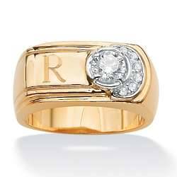 Men's Cubic Zirconia and Crystal Personalized Ring
