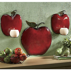 3 Piece Apple Sconce Set