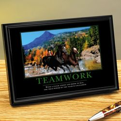 Teamwork Horses Framed Desktop Print