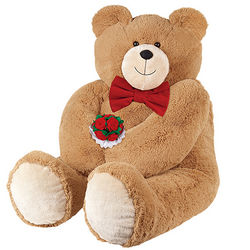 Big Hunka Love Teddy Bear with Bowtie and Roses