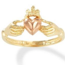 14k Irish Claddagh Friendship Ring with Rose Gold Heart